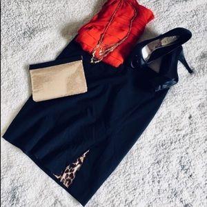 Express leopard lined black skirt